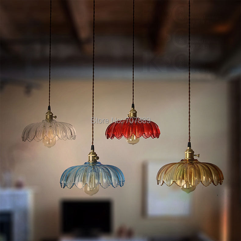 Aliexpress Buy Retro Glass Lampshade Pendant Lights Vintage Lotus Hanging Lamp Dining Room Lighting Fixture Edison Bulb E27 Free Shipping PV012 From