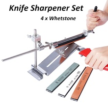 2019 Hot Sale Knife Sharpener All Iron Steel Professional Chef Knife Sharpener Kitchen Sharpening System Fix-angle 4 Whetston kme knife sharpener professional sharpening knife portable 360 degree rotation fixed angle apex edge knife sharpener with stones