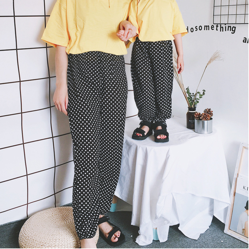 Mother Daughter Clothes 2018 New Summer Baby Girl Lantern Pants Family Look Kids Dot Printed Casual Trousers Pant Mosquito Pants 15