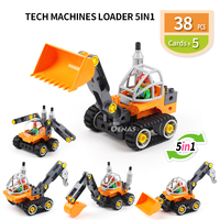Tech Machine loader bulldozer 5 in 1 Technic Block DIY Building Bricks Fit legoed Duploed Educational kids Toy Children gift