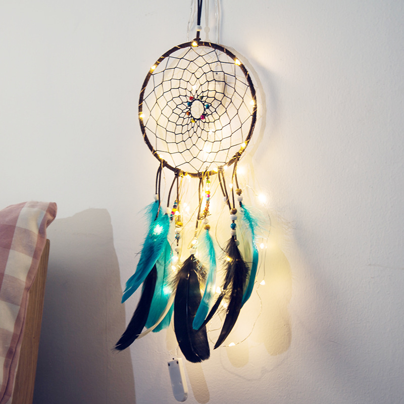 fairy lights battery operated indian dream catcher net bedroom wall decor copper string light christmas gifts for children women in novelty lighting from