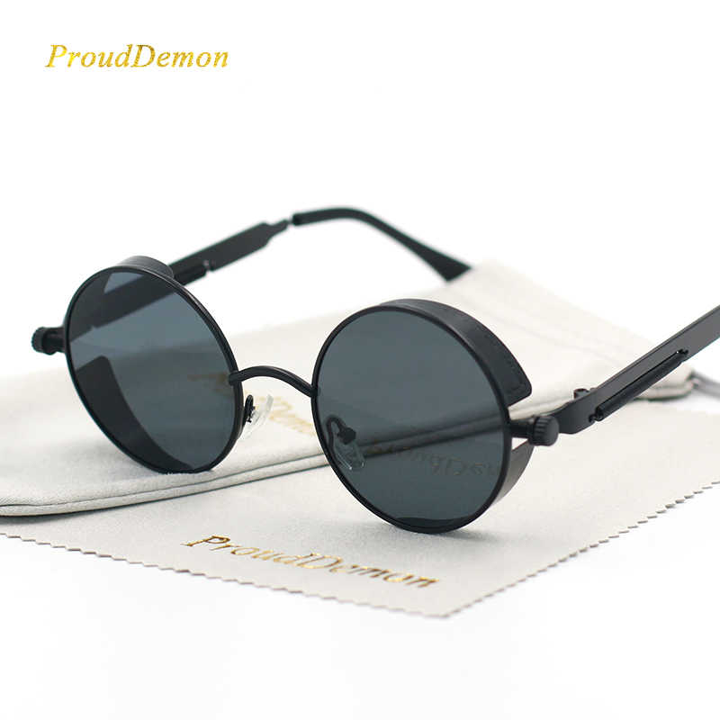 bf2f6c0d57f1 Gothic Steampunk Round Metal Sunglasses for Men Women Mirrored Circle Sun  glasses Brand Designer Retro Vintage
