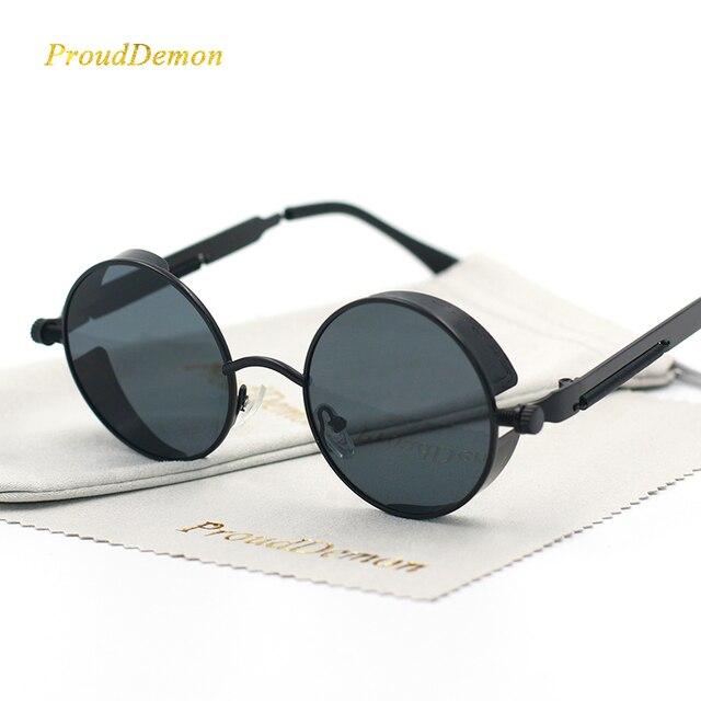Gothique Steampunk Ronde En Métal lunettes de Soleil pour Hommes Femmes Miroir Cercle Soleil lunettes Marque Designer Rétro Vintage Oculos UV400