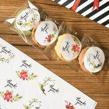 480pcs/lot Flower Thank you sealing label Adhesive Kraft Baking Seal Sticker gift stickers students DIY Work
