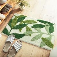 Honlaker zielone liście uciekają mata do kąpieli antypoślizgowa chłonna mikrofibra łazienka dywan drzwi wejściowe do domu mata Super miękka wanna dywan|Maty łazienkowe|Dom i ogród -