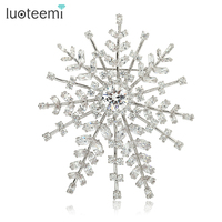 LUOTEEMI Wholesale Luxury White Zircon Crystal Design Big Size Snowflake Bridal Brooch for Women Fashion Noble Party Jewelry