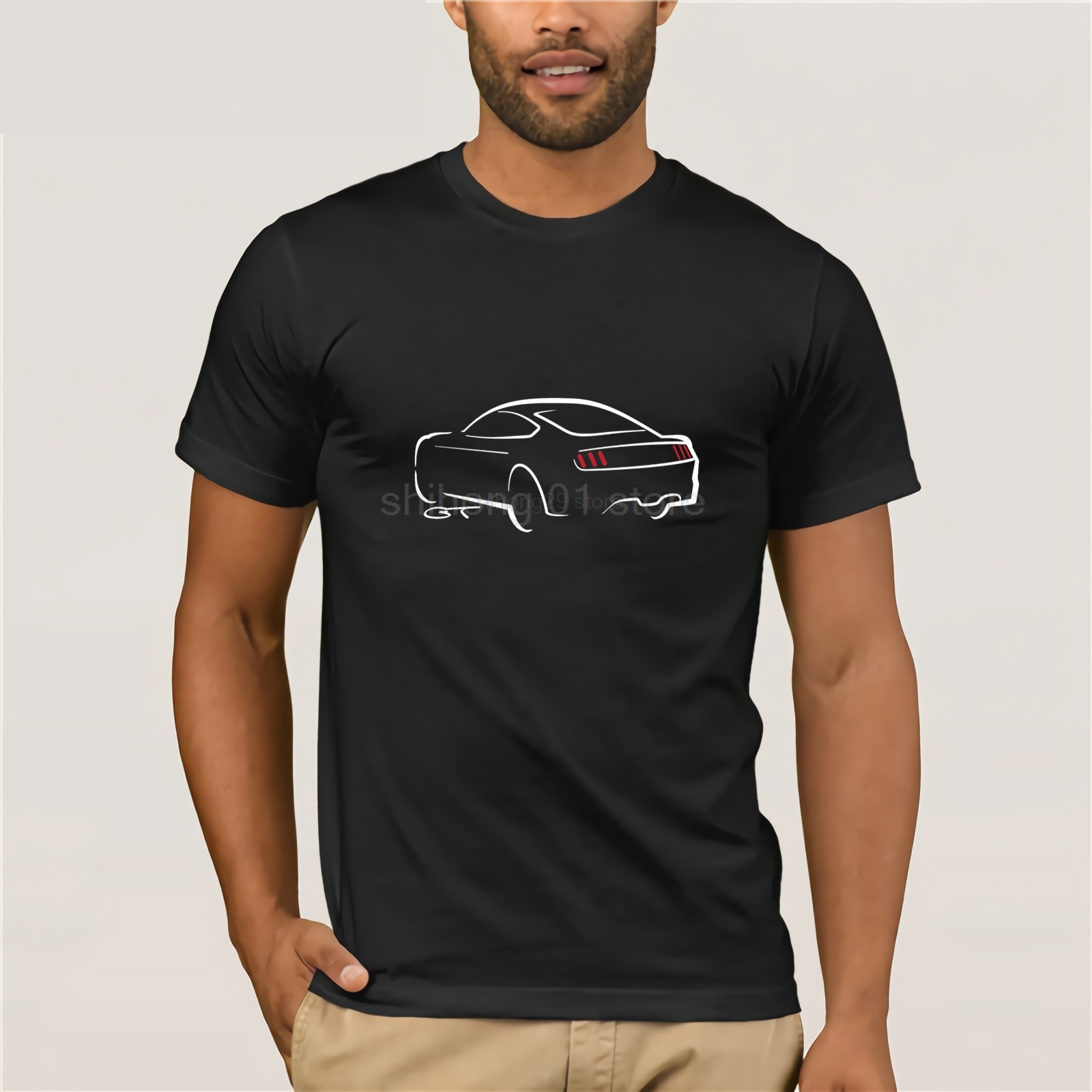 2019 Summer High Quality Tees Classic American Car Fans Mustang Gt Sketch Design <font><b>T</b></font> <font><b>Shirt</b></font> <font><b>V8</b></font> American Muscle Car Printed <font><b>T</b></font> <font><b>Shirts</b></font> image