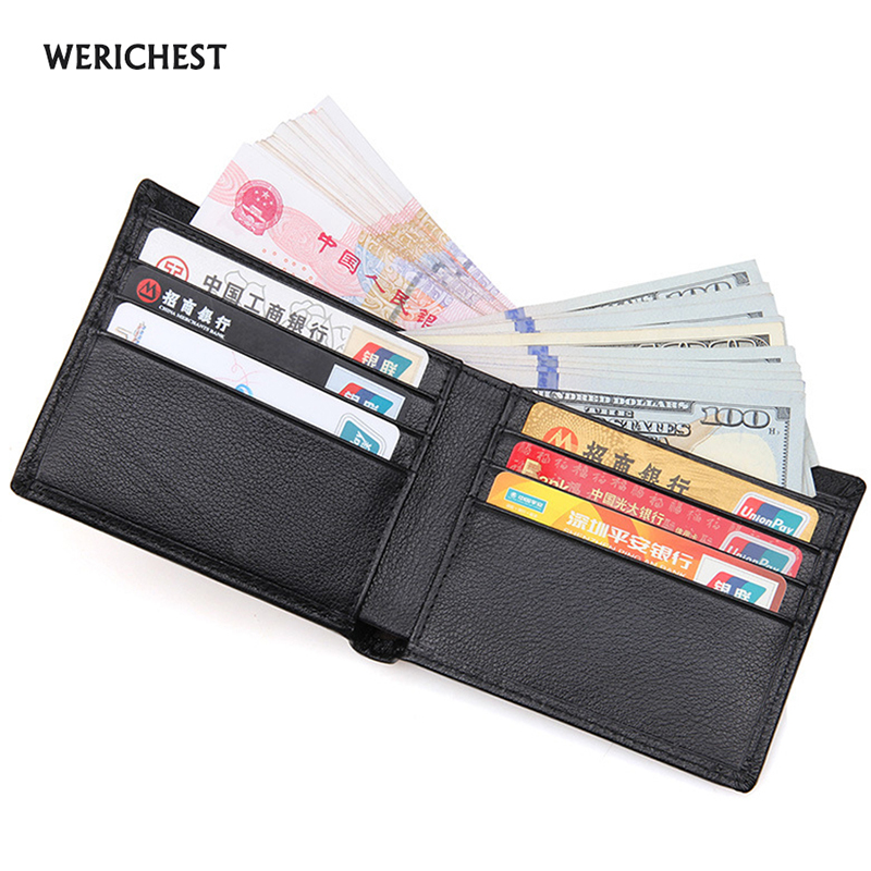 WERICHEST Black Genuine Leather Men's Wallet Slim Bifold RFID Wallets Short Card Holder Short Purse RFID Blocking Wallet Men williampolo mens mini wallet black purse card holder genuine leather slim wallet men small purse short bifold cowhide 2 fold bag