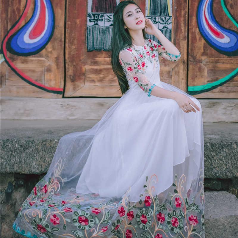 8fda681489f8e ... CBAFU high quality designer runway mexican dress women summer flowers  embroidery slim party dress floor length ...