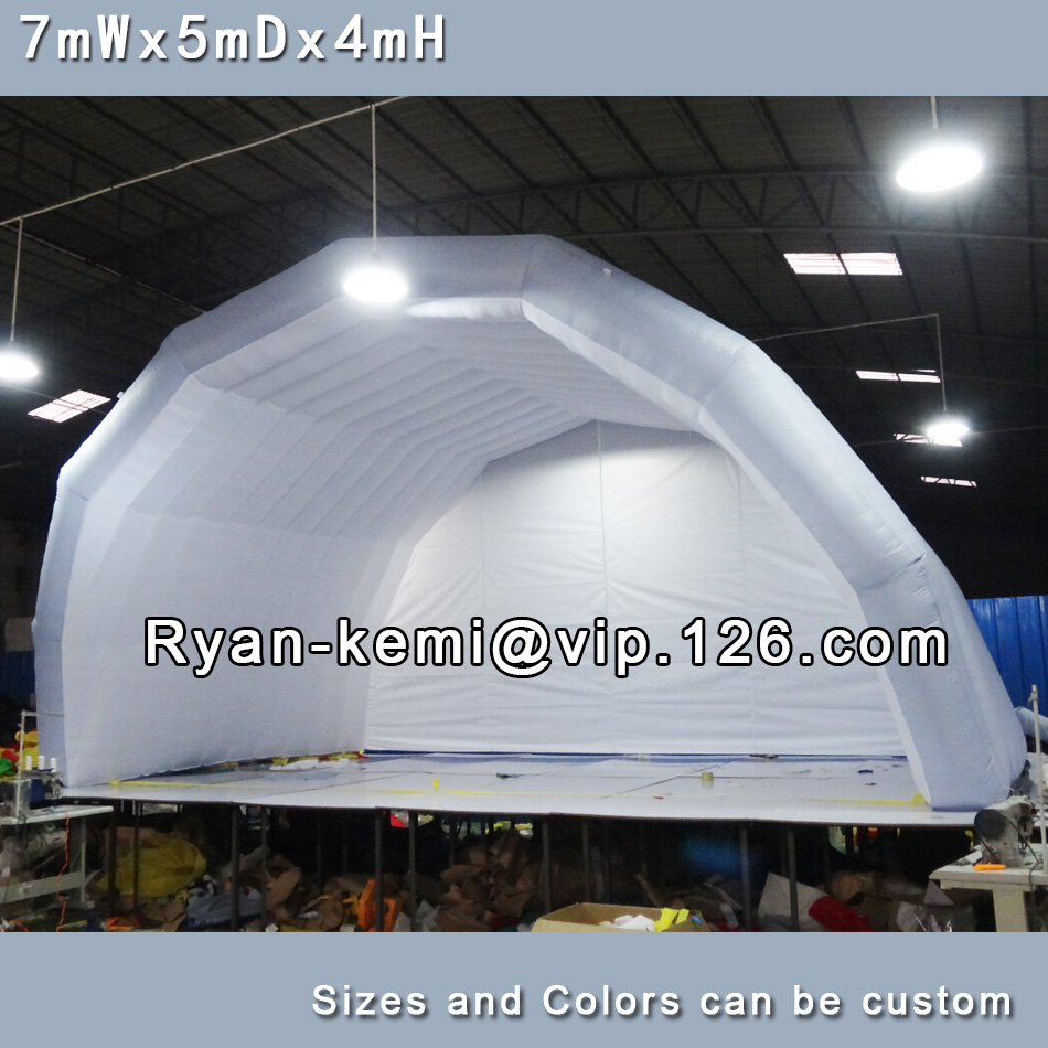 Free shipping 7mWx4mHx5mD light grey white inflatable stage tent oxford cloth tent for outdoor events inflatable canopy  6 8x4x3 4m oxford cloth inflatable stage tent inflatable stage cover inflatable canopy tent for concert with free shipping