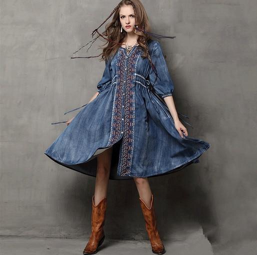 Long denim dress plus size
