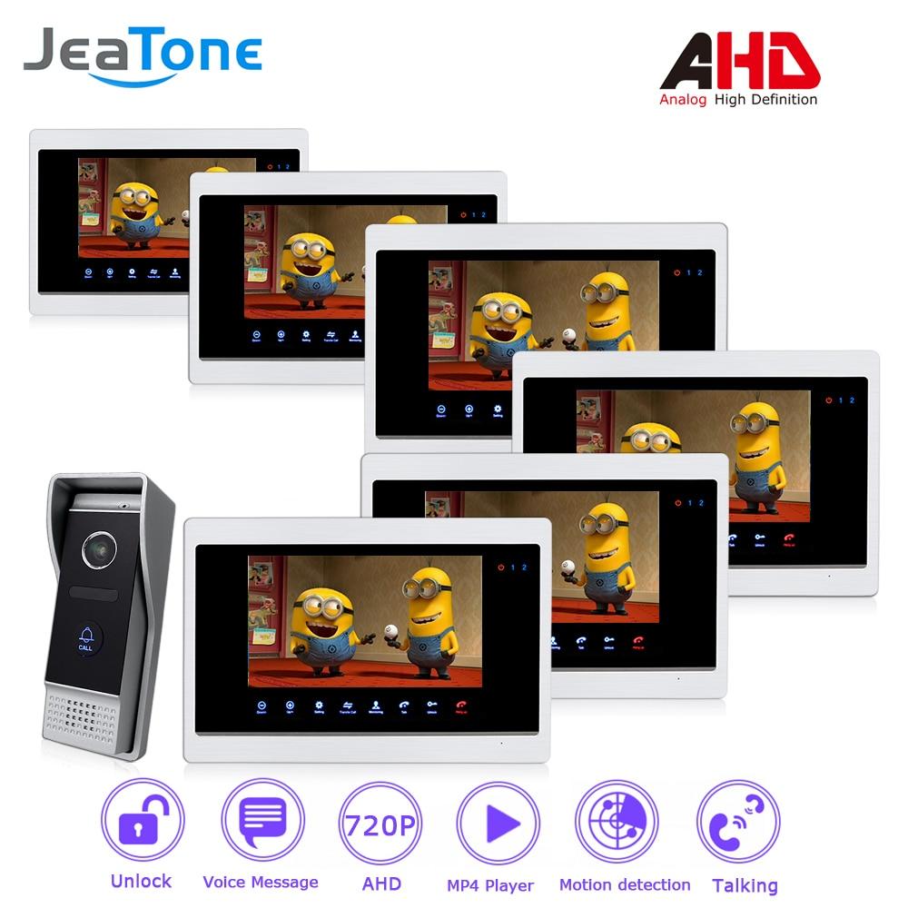 AHD 720P 4 Wired 7'' Video Door Phone Intercom Door Bell Door Speaker Security Motion Detection/Touch Button/MP4 Player/1 to 6 цена