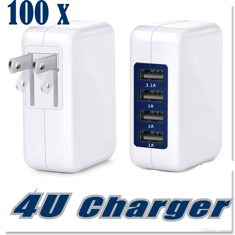 100pcs 15W 3.1A USB Wall Charger 4 Port AC Power Adapter Folding Plug  Portable Travel Phone Chargers For IPhone Samsung IPad