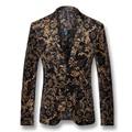 2016 Hombres Floral Vestido de Los Trajes Blazers Chaquetas Abrigos Veste De Loisir Anzug Herren Hombres Moda Casual Delgado cuello de Solapa Con Muescas Blazers