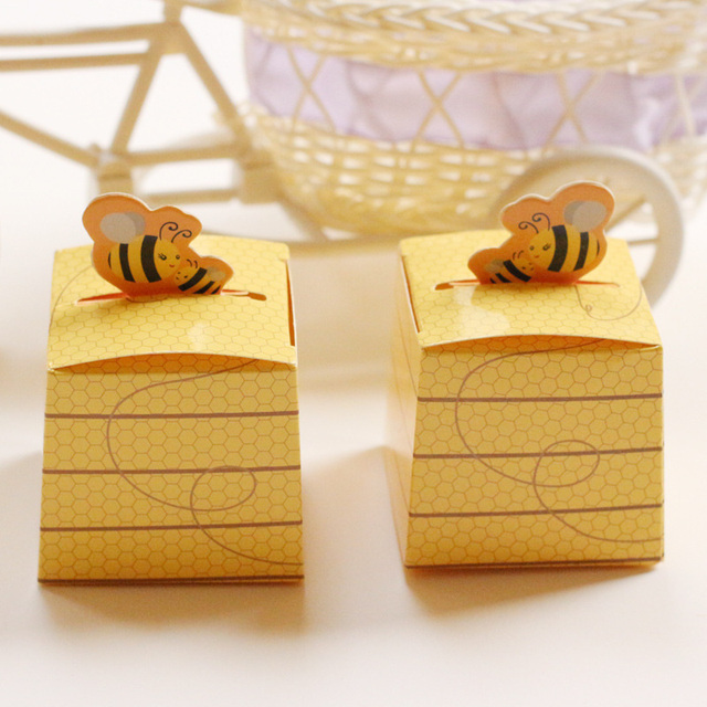 Us 11 58 30 Off 50pcs Lot Yellow Bee Honey Baby Shower Favors Candy Boxes Baptism Christening Birthday Gift Boxes Party Favor Supplies In Gift Bags
