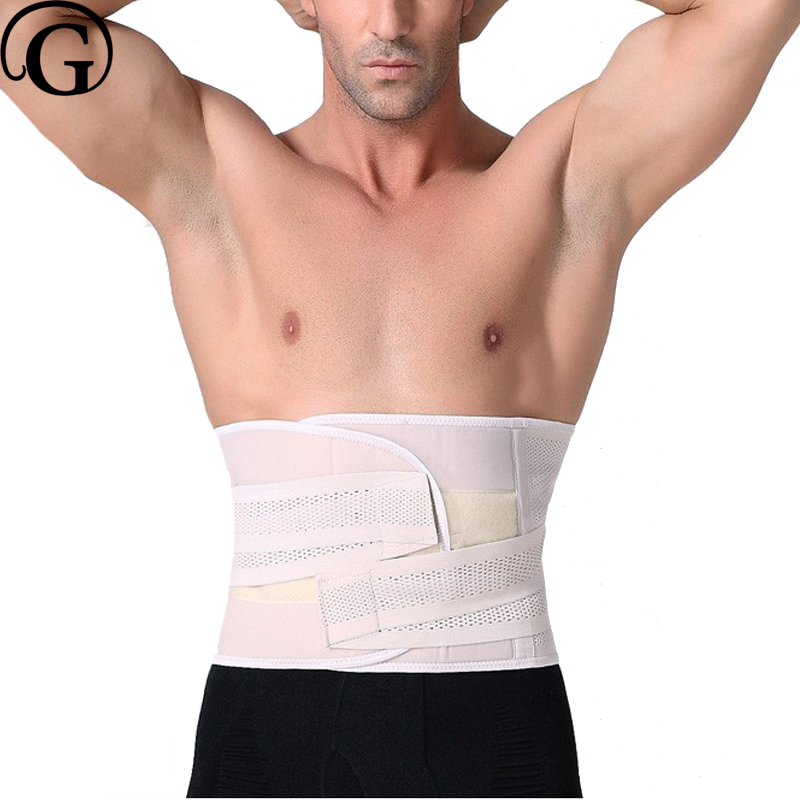 PRAYGER Men Breathable Control Waist Wrap BACK Support Lumbar Protector Waist Cincher Slimming Belly Body Shaper
