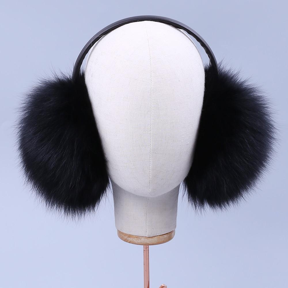 Winter Women Men Uninsex Warm Real Fox Earmuffs Double-faced Fur Girl's Earlap Ultralarge Imitation Lady Plush Ear Muff Fluffy
