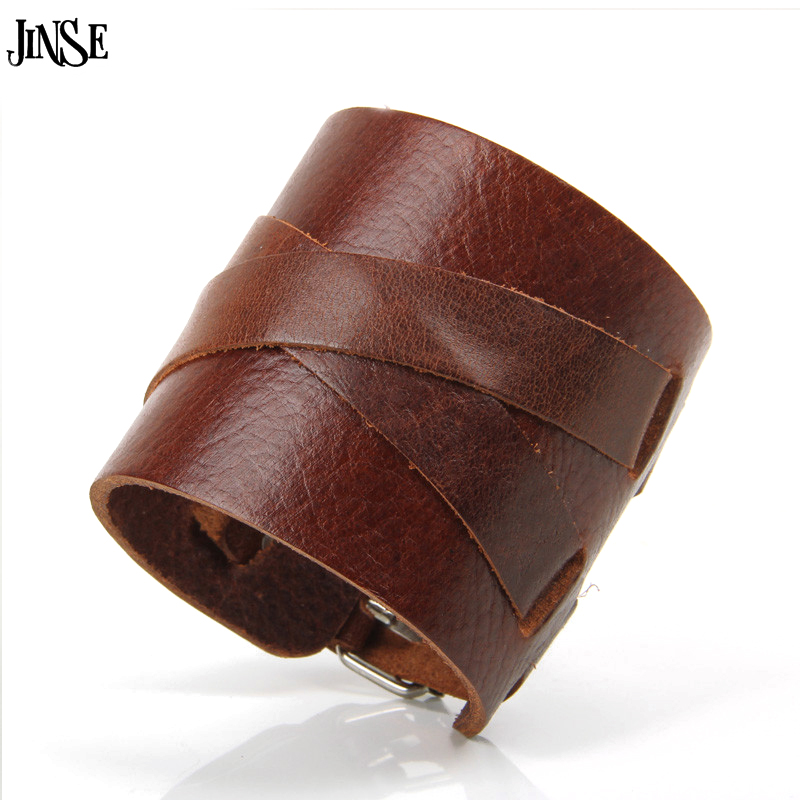 JINSE Hot Selling Men Jewelry Cool 6.50CM Wide Rock Punk Men Genuine Leather Bracelets Cuff Bangle Black Brown White PSL296