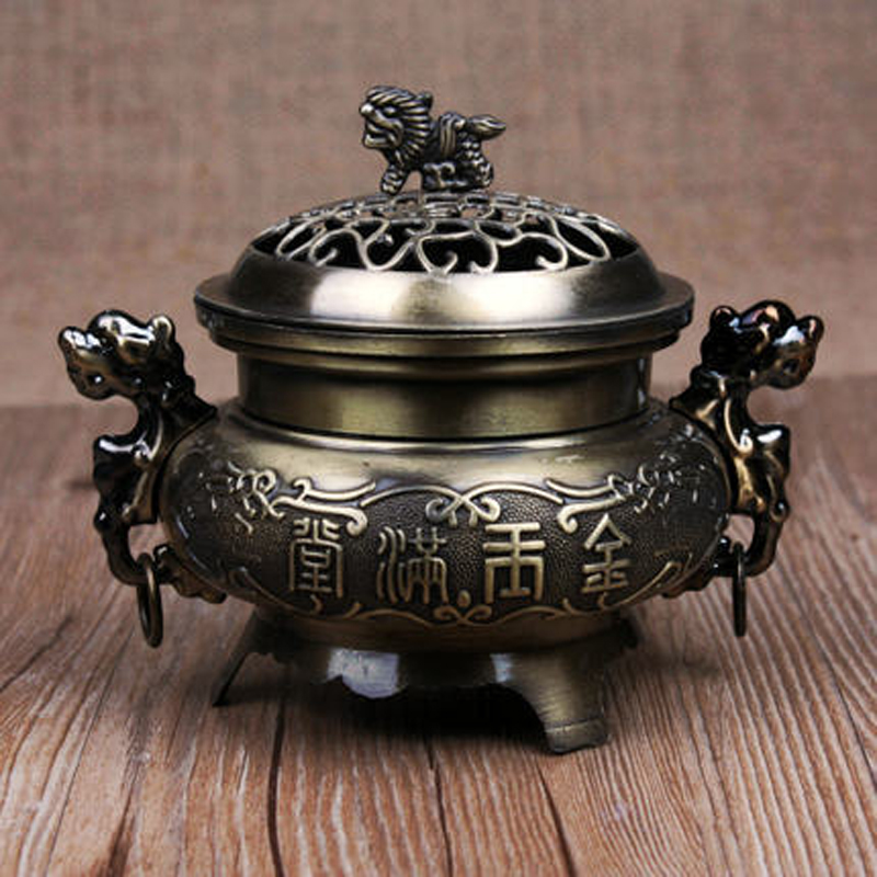Antique Alloy Double Dragon Incense Burners China Hollow Cover Incense Burner Censer Living Room Decoration