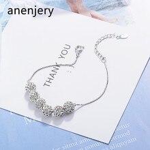 ANENJERY-pulsera de plata de ley 925 con cuentas de cristal, brazalete de la suerte, cadena de lujo, S-B228, 6 uds.