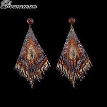 Dvacaman Bohemian Ear Drop Earrings For Women Ethnic Gypsy Indian Jewelry Big Handmade Beads Tassel Earrings Women Jewelry Gift