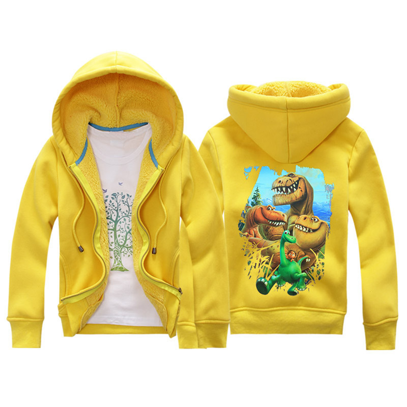 Jiuhehall Cartoon Dinosaur Berber Fleece Coats For Kids 2016 New Fashion Children Parkas 6 Colors Hooded Zipper Jackets JCM018 (1)