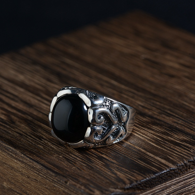 FNJ 925 Silver Heart Ring New Fashion Black Stone S925 Sterling Thai Silver Rings for Men Jewelry USA Size 8-11 цена