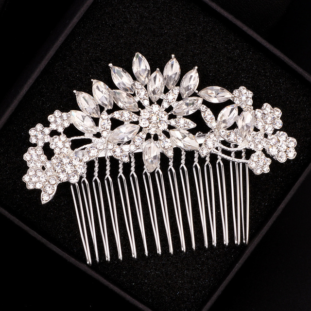 Elegant Crystal Flower Bridal Hair Combs 1