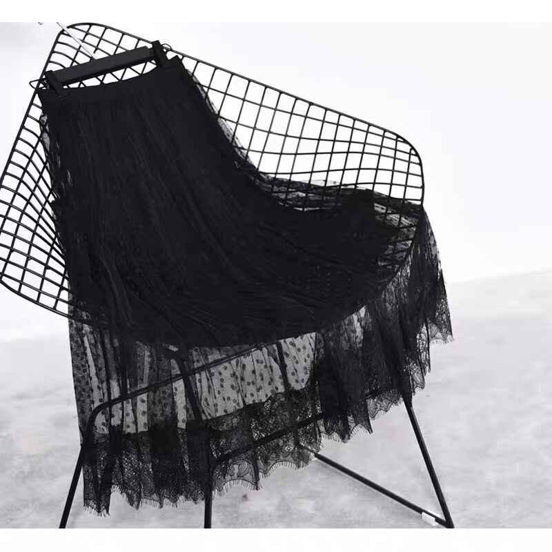Тюлевые женские юбки с бархатной подкладкой 2019 Весенняя юбка в горошек Женская плиссированная длинная юбка миди с высокой талией