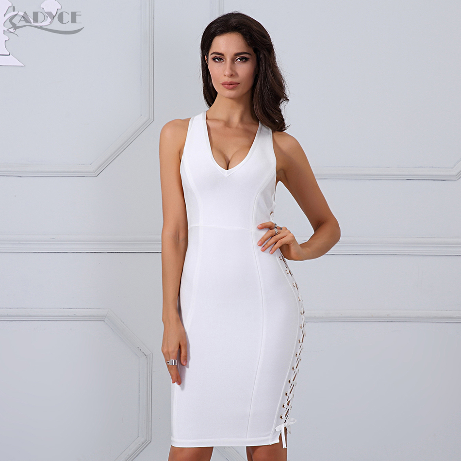 Adyce 2019 Chic Summer Bandage Dresses Women White Side Lace Up Celebrity Runway Dress Vestidos Bodycon Party Dress Clubwear