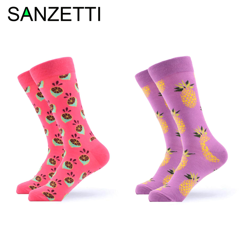 Men's Socks Radient Sanzetti 2 Pairs/lot Novelty Mens Colorful Combed Cotton Grid Rose Five-pointed Star Casual Crew Dress Socks Size Us 7.5-12 Crazy Price