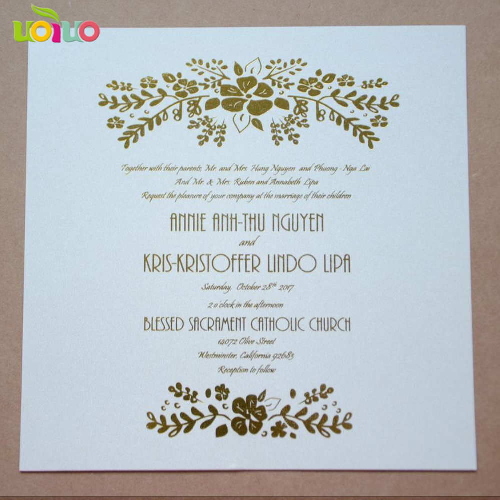 Us 35 0 Hot Sell Hot Foil Gold Stamp Words Text On Insert Card On Invitation Card Customized On Envelope And Rsvp Card Thank You Card In Cards