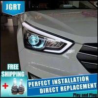 2 шт. светодиодный фары для hyundai ix25 2015 Автомобильный светодиодный фонарь с двойными ксеноновыми линзами автомобильные аксессуары дневные хо