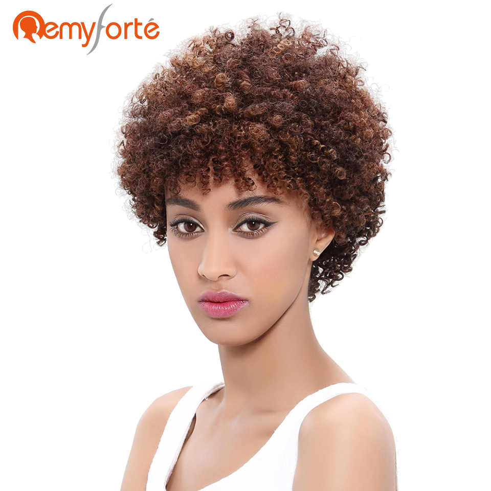 remy forte short curly weave human hair wigs for black women brazilian afro kinky curly bob wig machine made none lace remy wig
