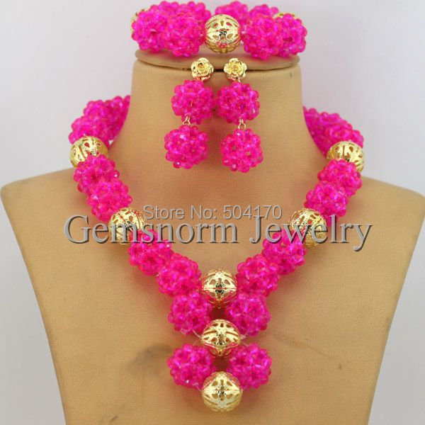 shipping nigerian fushia free set jewellery wedding african beads pink jewelry indian handmade item costume new