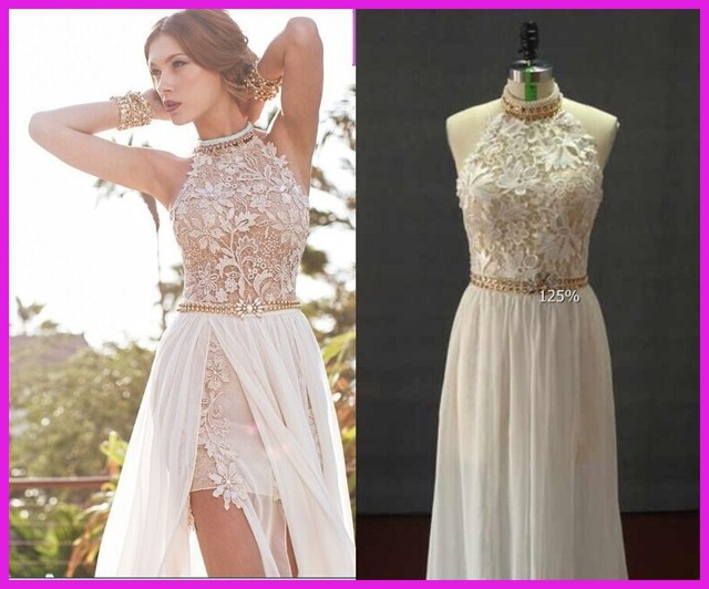 Romantic white prom dresses high low lace special occasion