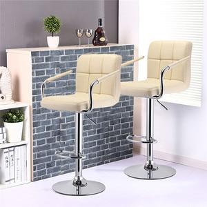 Image 4 - 2 Pcs Swivel Barhocker Moderne Höhe Einstellbar Stuhl Barhocker Bar Stühle mit Fußstütze Barhocker mit Armlehnen HWC