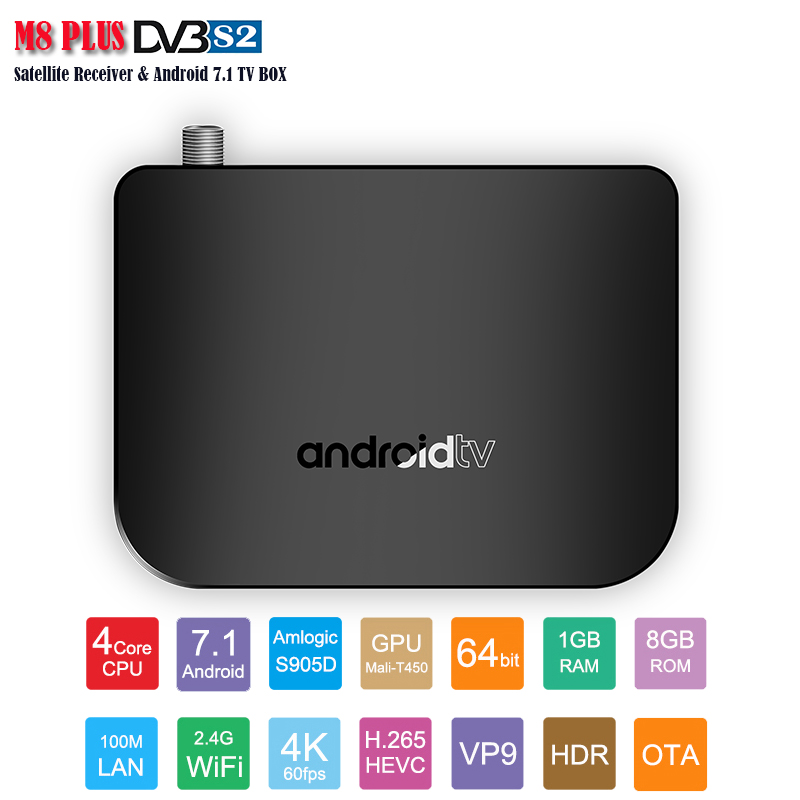 Récepteur Satellite Android 7.1 TV BOX double Mode prise en charge CCCAM Amlogic 905D 1 GB 8 GB 4 K affichage DVBS2 Android TV BOX