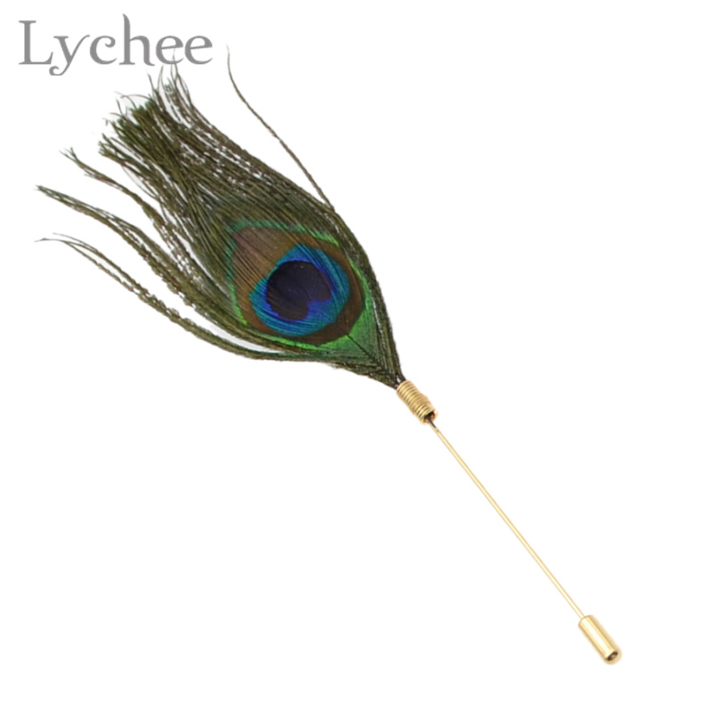 daily vogue Lychee Vintage Multi Color Peacock Feather Brooch Pin Retro Collar Lapel Pin Party Jewelry for Men Women