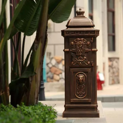vertical Mailbox Postbox Mail Box Aluminium alloy upright Metal Post Letters Box garden outdoor supply