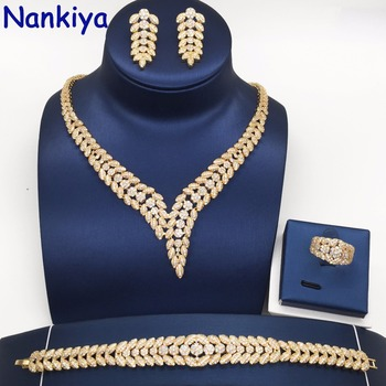 Nankiya Fashion Women Jewelry Set Classic Leaf Shape Trendy Brilliant Sparkling AAA Cubic Zircon Wedding Dress Jewelry Set NC300