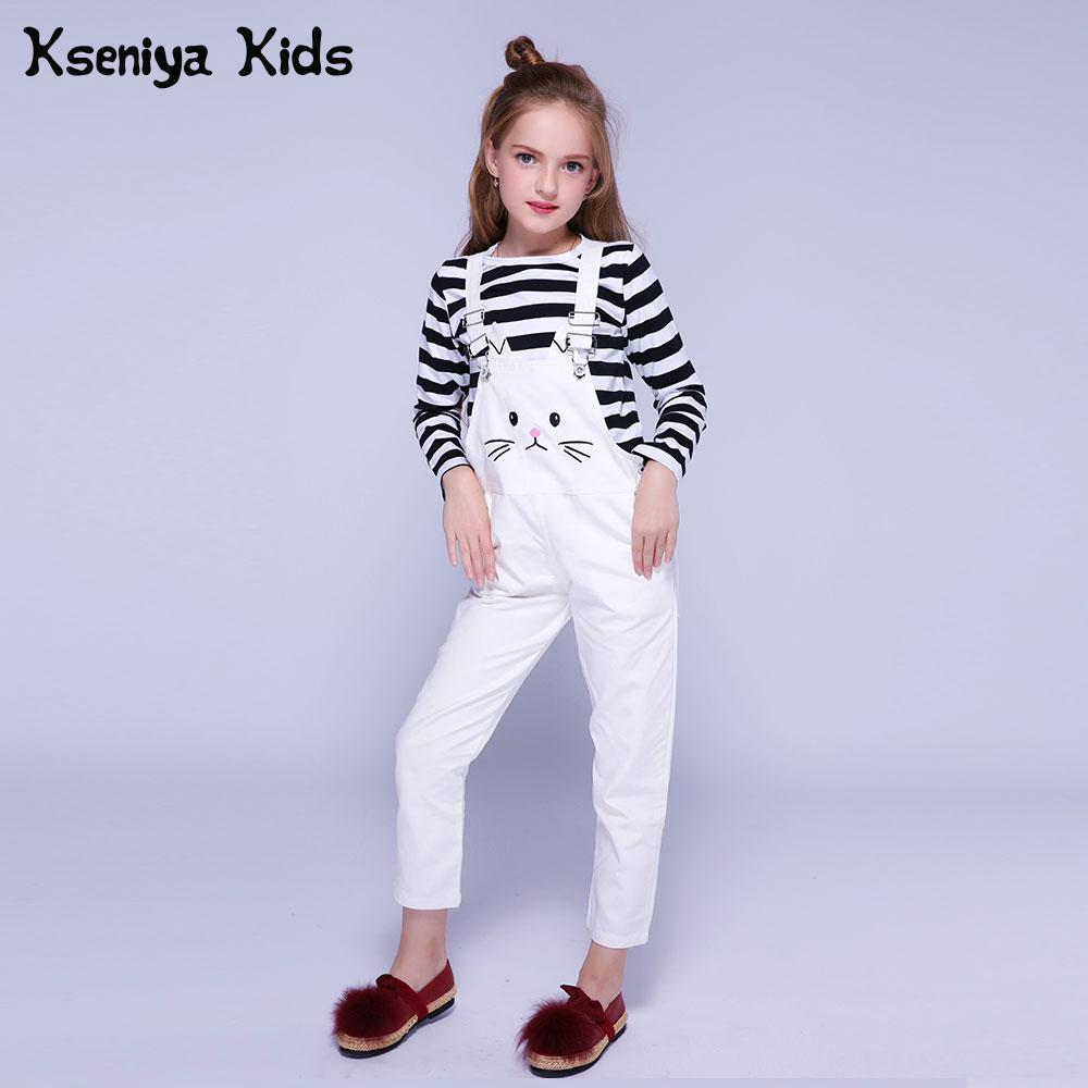 Kseniya Kids Girls Clothing Sets Autumn Winter Children Long Sleeve T shirt+Overalls 2 Piece Set Girl Clothes