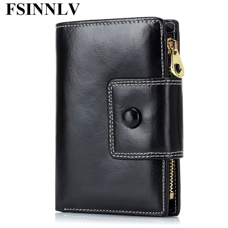 FSINNLV Genuine Leather Wallet Women Lady Short Wallets Women Purse Female 4 Colors Women Wallet Card Holder Day Clutch DC242 simline fashion genuine leather real cowhide women lady short slim wallet wallets purse card holder zipper coin pocket ladies