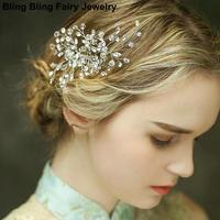 Handmade silber Blatt Hochzeit Kopfschmuck Vintage Braut Haar Kamm Zubehör Frauen Hairwear, freies Verschiffen