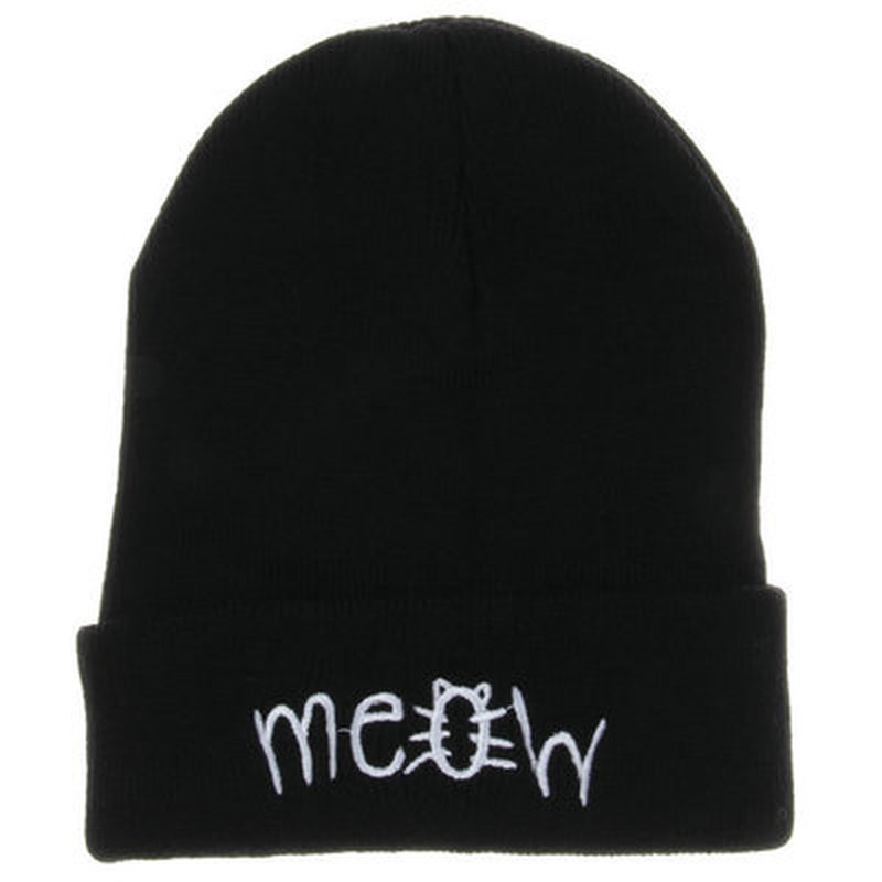 2019 Embroidery Meow Winter Hat Men Caps Women's   Beanies   Warm Hip Hop Bonnet Wool Blends Knitted Hat Female   Skullies     Beanies
