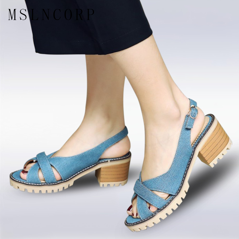 Plus Size 34-43 Women Summer Sandals Thick High Heels Ladies Shoes Fashion Open Toe Fish Mouth Back Strap Buckle Sandal Shoes sexemara extreme high heel sandals fish mouth women sandals 2017 new large size 33 43 summer fashion sexy buckle ladies sandals