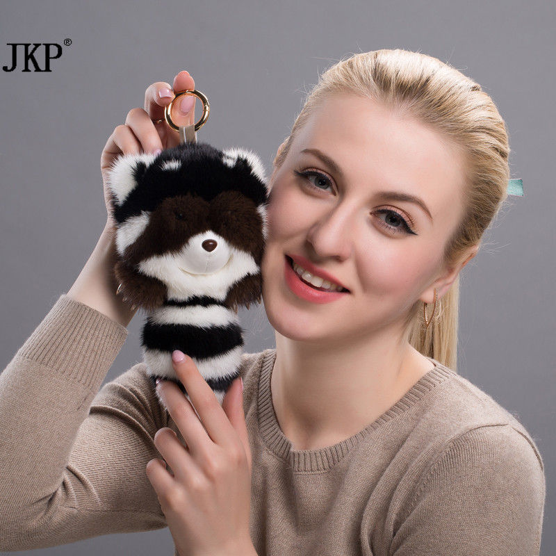 Fluffy Mink Raccoon Keychain Keychain Rabbit Fur Rex Ladies Handbag Keychain Pom Pom Key Ring Ring Key Chain Pendant