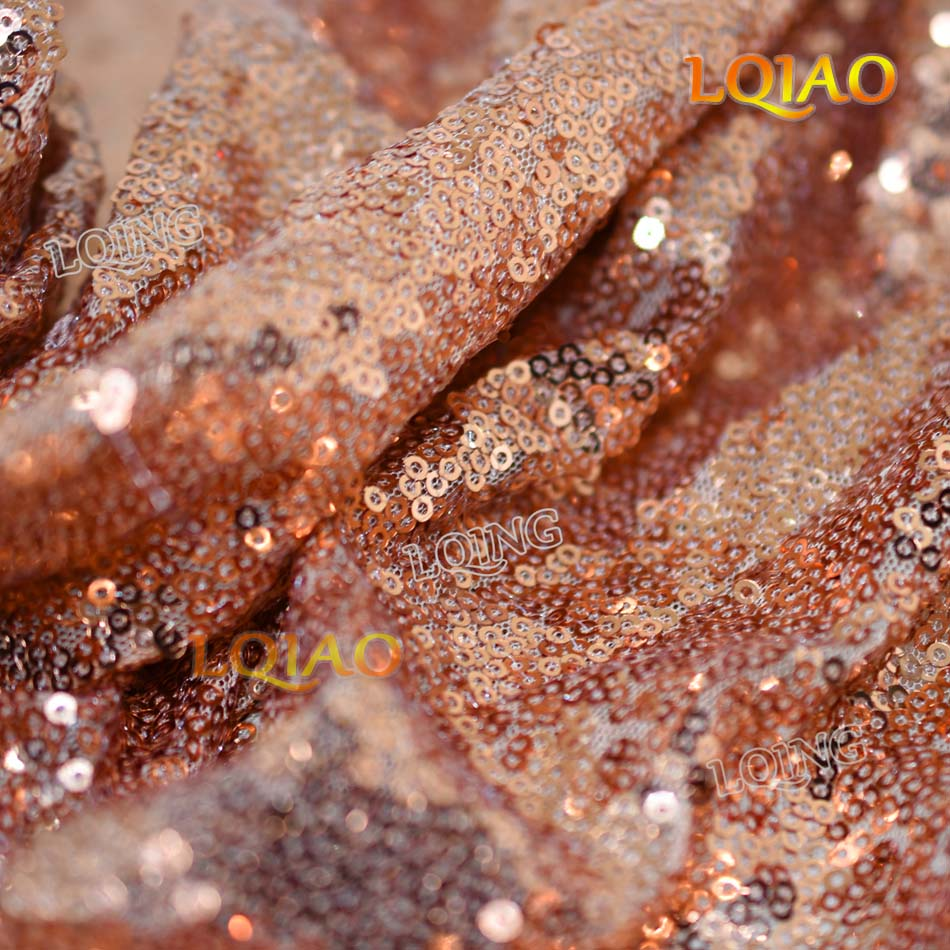 Wholesale 10 Yards Rose Gold Sequin Fabric by the yard High Quality 3mm Sequin Fabric for