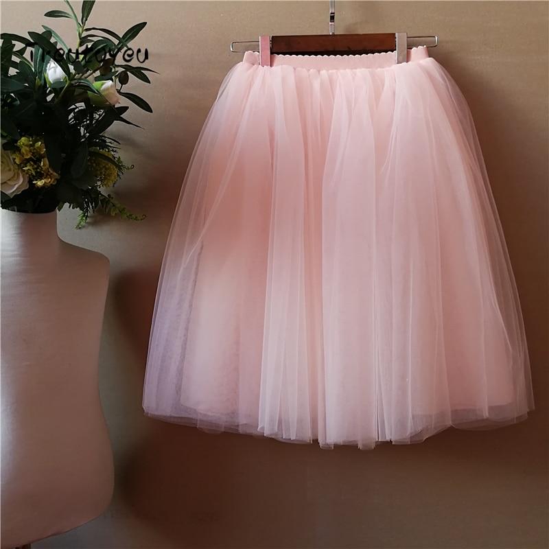 5 Layers 65cm Sexy Midi Tulle Skirt Streetwear Pleated Skirts Womens Short Tutu Femme 2018 Winter