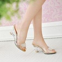ราคาถูกเลดี้พลัสขนาดEU42 43คริสตัลรองเท้าเวดจ์ล้างรองเท้าหนังสำหรับงานแต่งงานฤดูร้อนP Eep Toeรองเท้าผู้หญิงปั๊มสไลด์